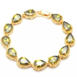 Jewelry - 18k Gold Filled Peridot CZ Bracelet